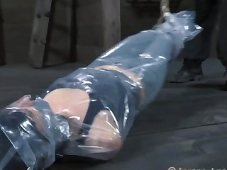 Gagged and bound up serf is being satisfied with vibrator