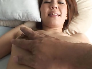 Pretty Oriental progenitrix i'd like to fuck sucks on hard schlong and her shaggy cunt fingered
