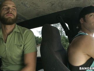 These two fucking dawgs are looking for a babe to nail in their dirty fuck-bus. As they were driving around the neighbor hood looking for a bitch, they were talking stuffs and suddenly they found some one. It's the 30 years old red head milf Cherry standing in the side walk. Bingo!!
